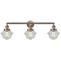 Innovations Lighting 205-AC-S-G534 Small Oxford 3 Light 34 inch Antique Copper Bathroom Fixture Wall Light Adjustable