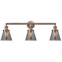 Innovations Lighting 205-AC-S-G63-LED Small Cone LED 30 inch Antique Copper Bathroom Fixture Wall Light Adjustable