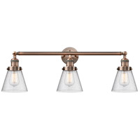 Innovations Lighting 205-AC-S-G64-LED Small Cone LED 30 inch Antique Copper Bath Vanity Light Wall Light, Franklin Restoration
