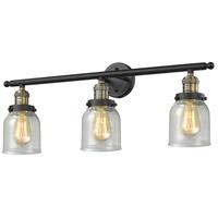 Innovations Lighting 205-BAB-G54 Small Bell 3 Light 30 inch Black Antique Brass Bathroom Fixture Wall Light
