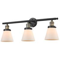 Innovations Lighting 205-BAB-G61 Small Cone 3 Light 30 inch Black Antique Brass Bathroom Fixture Wall Light