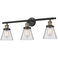 Innovations Lighting 205-BAB-G62-LED Small Cone LED 30 inch Black Antique Brass Bathroom Fixture Wall Light