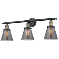 Innovations Lighting 205-BAB-G63 Small Cone 3 Light 30 inch Black Antique Brass Bathroom Fixture Wall Light