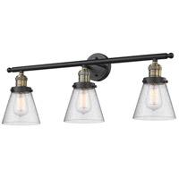 Innovations Lighting 205-BAB-G64 Small Cone 3 Light 30 inch Black Antique Brass Bathroom Fixture Wall Light