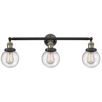 Innovations Lighting 205-BAB-S-G204-6-LED Beacon LED 30 inch Black Antique Brass Bath Vanity Light Wall Light, Franklin Restoration