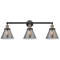 Innovations Lighting 205-BAB-S-G43 Large Cone 3 Light 32 inch Black Antique Brass Bathroom Fixture Wall Light Adjustable