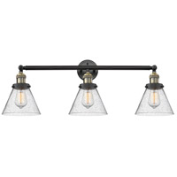 Innovations Lighting 205-BAB-S-G44 Large Cone 3 Light 32 inch Black Antique Brass Bath Vanity Light Wall Light Franklin Restoration