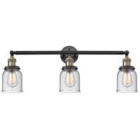 Innovations Lighting 205-BAB-S-G54-LED Small Bell LED 30 inch Black Antique Brass Bath Vanity Light Wall Light, Franklin Restoration