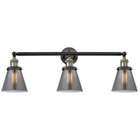 Innovations Lighting 205-BAB-S-G63-LED Small Cone LED 30 inch Black Antique Brass Bathroom Fixture Wall Light Adjustable