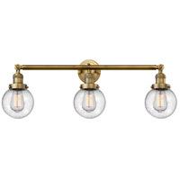 Innovations Lighting 205-BB-S-G204-6 Beacon 3 Light 30 inch Brushed Brass Bath Vanity Light Wall Light Franklin Restoration