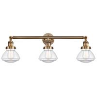 Innovations Lighting 205-BB-S-G322 Olean 3 Light 31 inch Brushed Brass Bath Vanity Light Wall Light Franklin Restoration