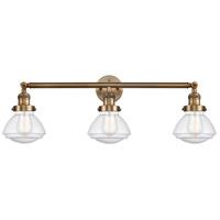 Innovations Lighting 205-BB-S-G324 Olean 3 Light 31 inch Brushed Brass Bath Vanity Light Wall Light Franklin Restoration