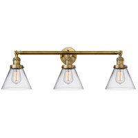 Innovations Lighting 205-BB-S-G42 Large Cone 3 Light 32 inch Brushed Brass Bathroom Fixture Wall Light Adjustable