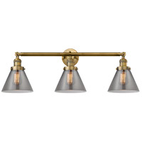 Innovations Lighting 205-BB-S-G43 Large Cone 3 Light 32 inch Brushed Brass Bathroom Fixture Wall Light Adjustable