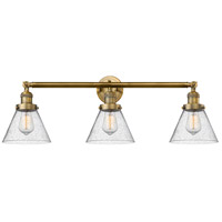 Innovations Lighting 205-BB-S-G44 Large Cone 3 Light 32 inch Brushed Brass Bathroom Fixture Wall Light Adjustable