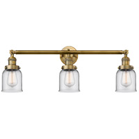 Innovations Lighting 205-BB-S-G52 Small Bell 3 Light 30 inch Brushed Brass Bathroom Fixture Wall Light Adjustable