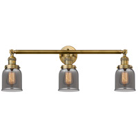 Innovations Lighting 205-BB-S-G53 Small Bell 3 Light 30 inch Brushed Brass Bathroom Fixture Wall Light Adjustable