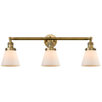 Innovations Lighting 205-BB-S-G61 Small Cone 3 Light 30 inch Brushed Brass Bathroom Fixture Wall Light Adjustable
