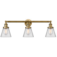 Innovations Lighting 205-BB-S-G62 Small Cone 3 Light 30 inch Brushed Brass Bathroom Fixture Wall Light Adjustable