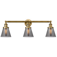 Innovations Lighting 205-BB-S-G63 Small Cone 3 Light 30 inch Brushed Brass Bathroom Fixture Wall Light Adjustable