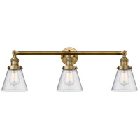 Innovations Lighting 205-BB-S-G64 Small Cone 3 Light 30 inch Brushed Brass Bathroom Fixture Wall Light Adjustable