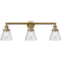Innovations Lighting 205-BB-S-G64-LED Small Cone LED 30 inch Brushed Brass Bath Vanity Light Wall Light, Franklin Restoration