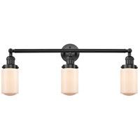 Innovations Lighting 205-BK-S-G311 Dover 3 Light 31 inch Matte Black Bath Vanity Light Wall Light Franklin Restoration