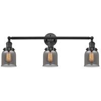 Innovations Lighting 205-BK-S-G53-LED Small Bell LED 30 inch Matte Black Bath Vanity Light Wall Light Franklin Restoration