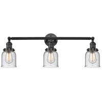 Innovations Lighting 205-BK-S-G54-LED Small Bell LED 30 inch Matte Black Bath Vanity Light Wall Light Franklin Restoration
