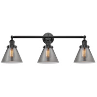 Innovations Lighting 205-OB-S-G43 Large Cone 3 Light 32 inch Oil Rubbed Bronze Bathroom Fixture Wall Light Adjustable