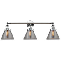 Innovations Lighting 205-PC-S-G43 Large Cone 3 Light 32 inch Polished Chrome Bathroom Fixture Wall Light Adjustable