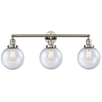 Innovations Lighting 205-PN-S-G204-8 Beacon 3 Light 32 inch Polished Nickel Bathroom Fixture Wall Light Adjustable
