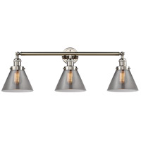 Innovations Lighting 205-PN-S-G43 Large Cone 3 Light 32 inch Polished Nickel Bathroom Fixture Wall Light Adjustable