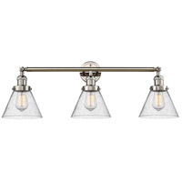 Innovations Lighting 205-PN-S-G44 Large Cone 3 Light 32 inch Polished Nickel Bathroom Fixture Wall Light Adjustable