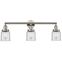 Innovations Lighting 205-PN-S-G52 Small Bell 3 Light 30 inch Polished Nickel Bathroom Fixture Wall Light Adjustable