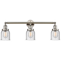 Innovations Lighting 205-PN-S-G54 Small Bell 3 Light 30 inch Polished Nickel Bath Vanity Light Wall Light, Franklin Restoration photo thumbnail