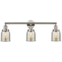 Innovations Lighting 205-PN-S-G58 Small Bell 3 Light 30 inch Polished Nickel Bath Vanity Light Wall Light, Franklin Restoration photo thumbnail