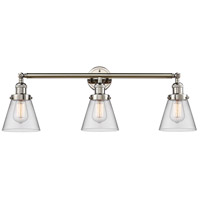 Innovations Lighting 205-PN-S-G62 Small Cone 3 Light 30 inch Polished Nickel Bathroom Fixture Wall Light Adjustable
