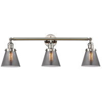 Innovations Lighting 205-PN-S-G63 Small Cone 3 Light 30 inch Polished Nickel Bathroom Fixture Wall Light Adjustable