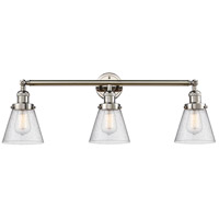 Innovations Lighting 205-PN-S-G64 Small Cone 3 Light 30 inch Polished Nickel Bathroom Fixture Wall Light Adjustable