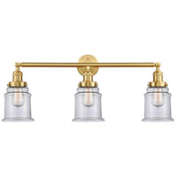 Innovations Lighting 205-SG-G182 Canton 3 Light 30 inch Satin Gold Bath Vanity Light Wall Light Franklin Restoration
