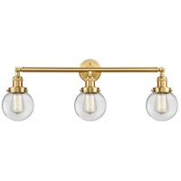 Innovations Lighting 205-SG-G202-6 Beacon 3 Light 30 inch Satin Gold Bath Vanity Light Wall Light Franklin Restoration