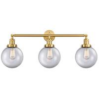 Innovations Lighting 205-SG-G202-8 Large Beacon 3 Light 32 inch Satin Gold Bath Vanity Light Wall Light Franklin Restoration