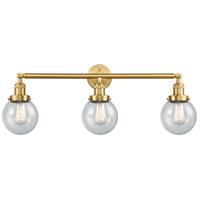 Innovations Lighting 205-SG-G204-6 Beacon 3 Light 30 inch Satin Gold Bath Vanity Light Wall Light Franklin Restoration