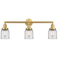 Innovations Lighting 205-SG-G52 Small Bell 3 Light 30 inch Satin Gold Bath Vanity Light Wall Light Franklin Restoration