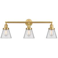 Innovations Lighting 205-SG-G62-LED Small Cone LED 30 inch Satin Gold Bath Vanity Light Wall Light