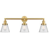 Innovations Lighting 205-SG-G64-LED Small Cone LED 30 inch Satin Gold Bath Vanity Light Wall Light