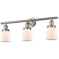 Innovations Lighting 205-SN-G51 Small Bell 3 Light 30 inch Brushed Satin Nickel Bath Vanity Light Wall Light, Franklin Restoration photo thumbnail