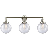 Innovations Lighting 205-SN-S-G204-8 Beacon 3 Light 32 inch Brushed Satin Nickel Bathroom Fixture Wall Light Adjustable