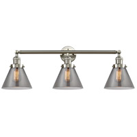 Innovations Lighting 205-SN-S-G43 Large Cone 3 Light 32 inch Brushed Satin Nickel Bathroom Fixture Wall Light Adjustable